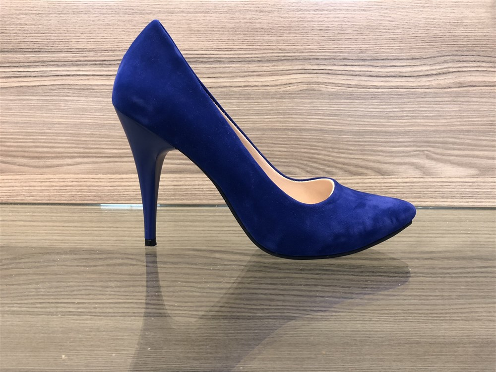 cd6e47cb7df Γοβες Γυναικειες Με Ψηλο Τακουνι Μυτερες Χρωμα Μπλε Ηλεκτρικ Suede 212