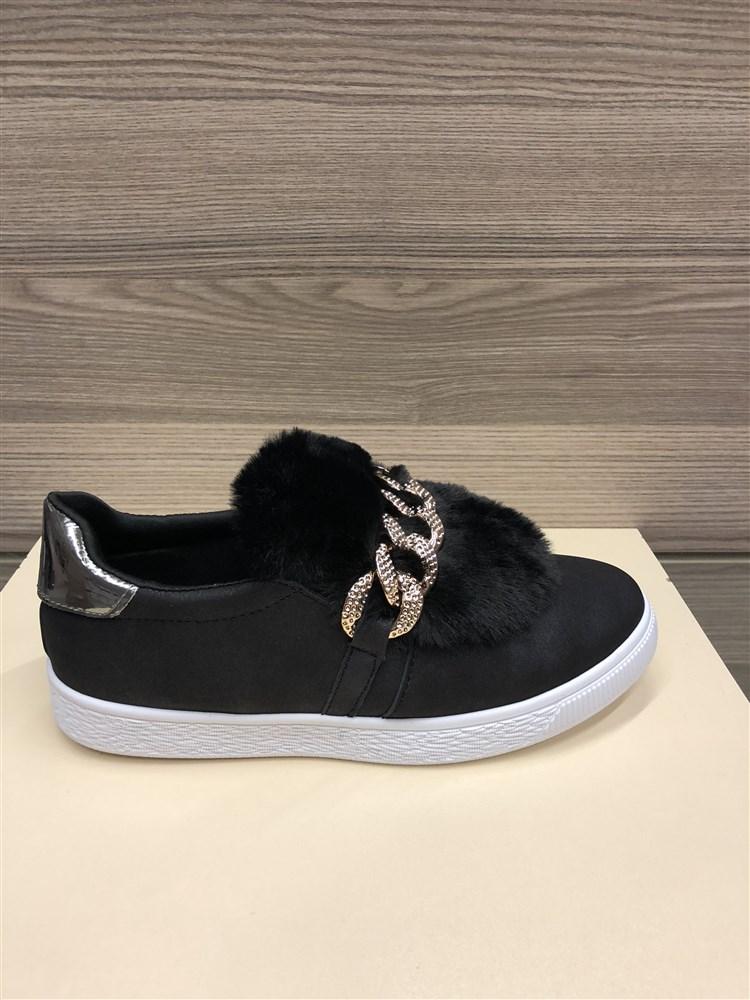Γυναικεια Sneakers Με Διακοσμητικη Γουνιτσα Χρωμα Μαυρο 163210 eacba8210cb