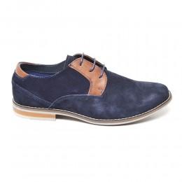 0e9e8d35e7f Ανδρικα Δερματινα Παπουτσια Loafers Με Κορδονια Χρωμα Navy/Brown 188002